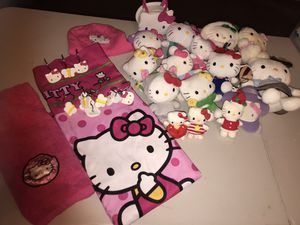 Hello kitty shower curtain with hooks , hand towel and toys for Sale in Grafton, MA