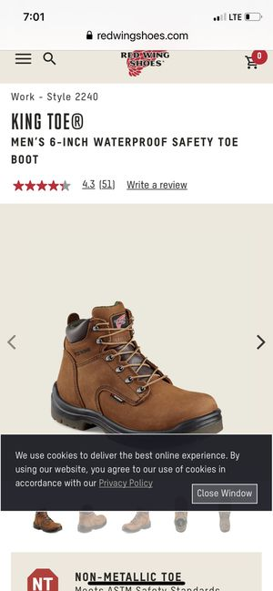 SIZE 8 RED WING KING TOE BOOTS SAFETY 6 INCHES TALL WATERPROOF LEATHER BRAND NEW IN THE STORE TOU PAY 220 for Sale in Vallejo, CA
