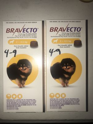 Bravecto 4-9lbs X Small Dog (Yellow) flea/tick/mites for Sale in Los Angeles, CA