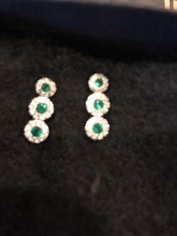 Emerald n Diamond earrings gold for Sale in Brentwood,  TN