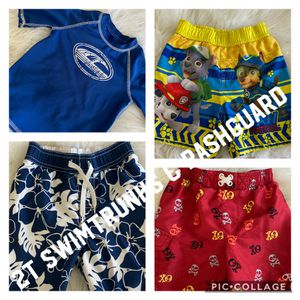 Size 2T swim trunks and Rash Guard,all in excellent condition S/f p/f home,poos, no holds, pick up in Arnold $6.00 each or take all for $30.00 for Sale in Arnold, MO