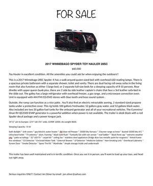 2017 Winnebago Spyder 28SC Toy Hauler for Sale in Litchfield, OH