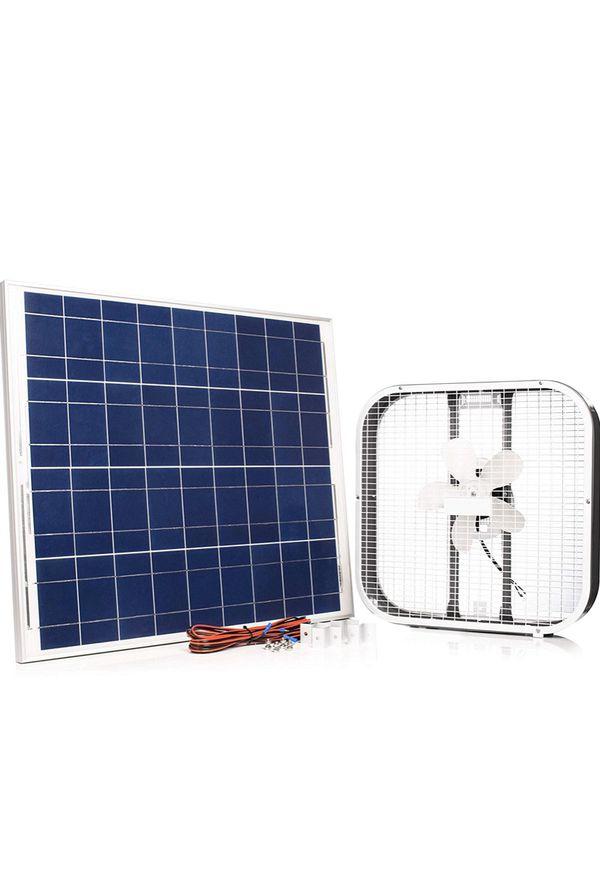 """Amtrak Solar Fan 20"""" Box Fan with 75 Watt Solar Panel Great for Outdoor, Camping, Cabin or Off Grid, 25 Year Warranty"""