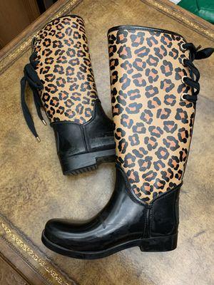 Coach rain boots leopard/black, size 7B for Sale in Morton Grove, IL