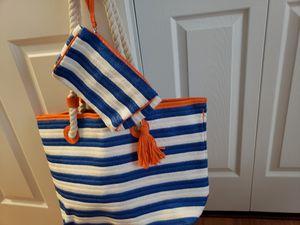 Blue white stripe style carry beach tote bag. for Sale in Boston, MA