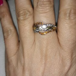 925 Sterling Silver Two-Tones Engagement Ring, Size 5. for Sale in Dallas,  TX