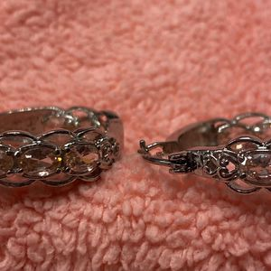 New Simulated Pink Diamond Stainless Steel Inside Out Hoop Earrings for Sale in Lake Elsinore, CA