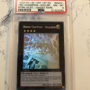 2012 YU-GI-OH! REDU-EN041 Heroic Champion-Excalibur 1st Edition Ghost PSA 8 MINT for Sale in Fowler, CA