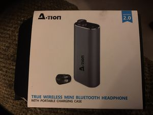 A tion True Wireless Mini Bluetooth Headphone/Earbuds w/ Charging Case for Sale in Bakersfield, CA