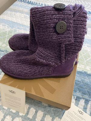 UGG Australia Cardy Fringe Purple Knit sweater five button Tall Boots Sz 7 for Sale in Fullerton, CA