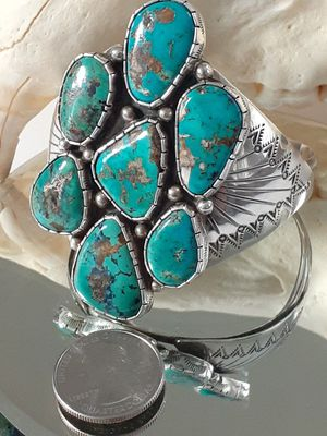 $600! 925 sterling silver Navajo turquoise cuff bracelet excellent condition for Sale in Tacoma, WA