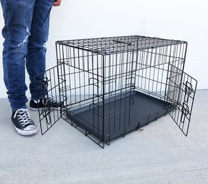 """Brand New $30 Folding 30"""" Dog Cage 2-Door Folding Pet Crate Kennel w/ Tray 30""""x18""""x20"""" for Sale in South El Monte, CA"""