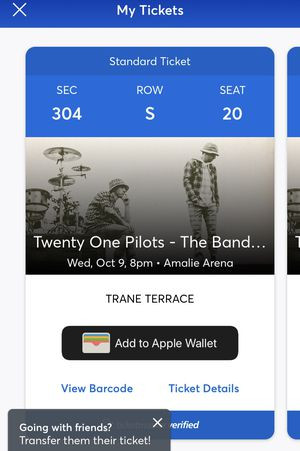 A twenty one pilots concert ticket for Sale in Tampa, FL