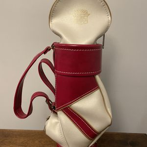 Cadillac Collectable Golf Caddy Wine Bottle Holder Red & White with Gold Trim for Sale in Portland, OR