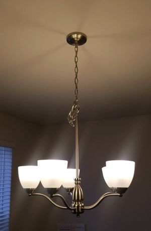 Nickel Brushed Chandelier 5 bulbs for Sale in Severn, MD
