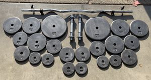 Complete Workout 165lbs Weights & Curl Bar 2 Dumbbell Handles for Sale in Happy Valley, OR
