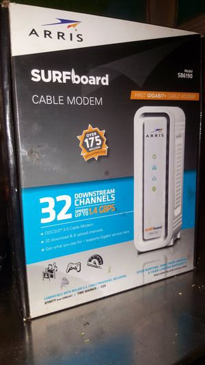 SURFboard Gigabit+ DOCSIS 3.0 32 x 8 Cable Modem SB6190 in White for Sale in Covina, CA