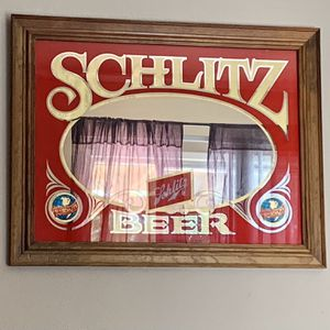 Vintage SCHLITZ Beer Glass Pub Sign - Red Gold And Mirror for Sale in Las Vegas, NV