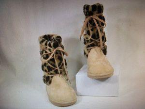 Wild Diva Women's Slouch Boots Beige Suede Faux Leopard Fur Size 6.5 for Sale in Clearfield, UT