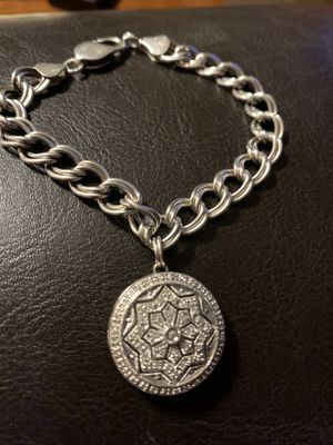 925 Italy sterling silver charm bracelet with diamond accent charm for Sale in Monroe, NC