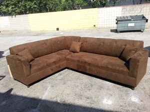 NEW 7X9FT CHOCOLATE MICROFIBER SECTIONAL COUCHES for Sale in Yucca Valley, CA