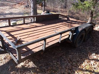 All steel flatbed trailer homemade solid trailer it was made in oklahoma so it has no tags and no registration for Sale in Denison,  TX