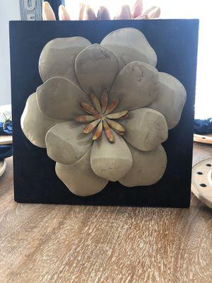 "14"" x 14"" meta flower art work for Sale in Vicksburg, MI"