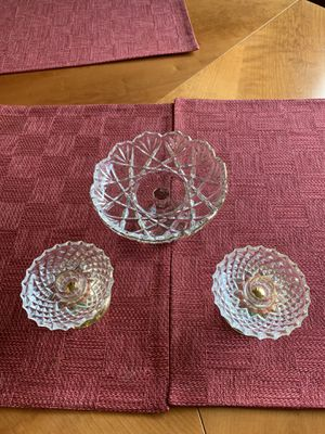 2 Candle Holders & Candy Dish Glass with Brass for Sale in Columbia, MO