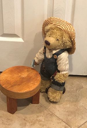 Adorable country teddy bear with stand And solid wood stool for Sale in Katy, TX