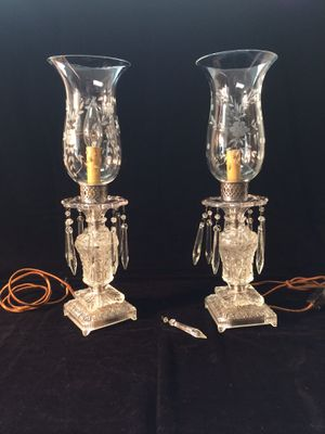 Antique Drop Crystal Hurricane Lamp for Sale in San Diego, CA