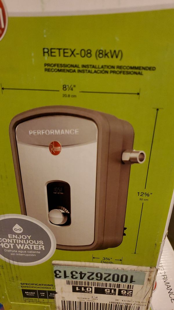 Open box Rheem performance 8 kw 1.55 gpm thankless electric water heater