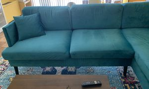 Turquoise right arm facing sectional for Sale in Alexandria, VA