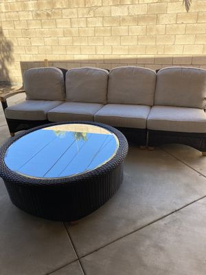 Gloster Outdoor Patio Sofa modular 4 pieces the 2 end pieces recline and coffee table with glass top from moving and can't take it with me my lost yo for Sale in Santa Ana, CA