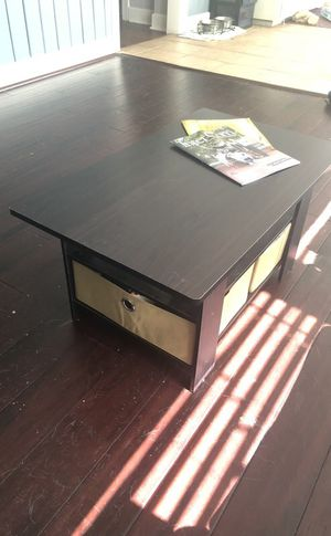 Brown coffee table with storage bins for Sale in Austin, TX