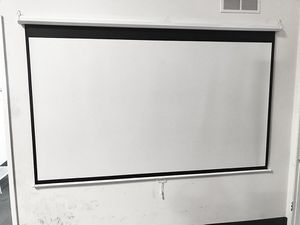 "New in box $45 Manual 100"" 16:9 Projector Screen Manual Pull Down Matte White Viewing Area: 87""x49"" for Sale in Whittier, CA"