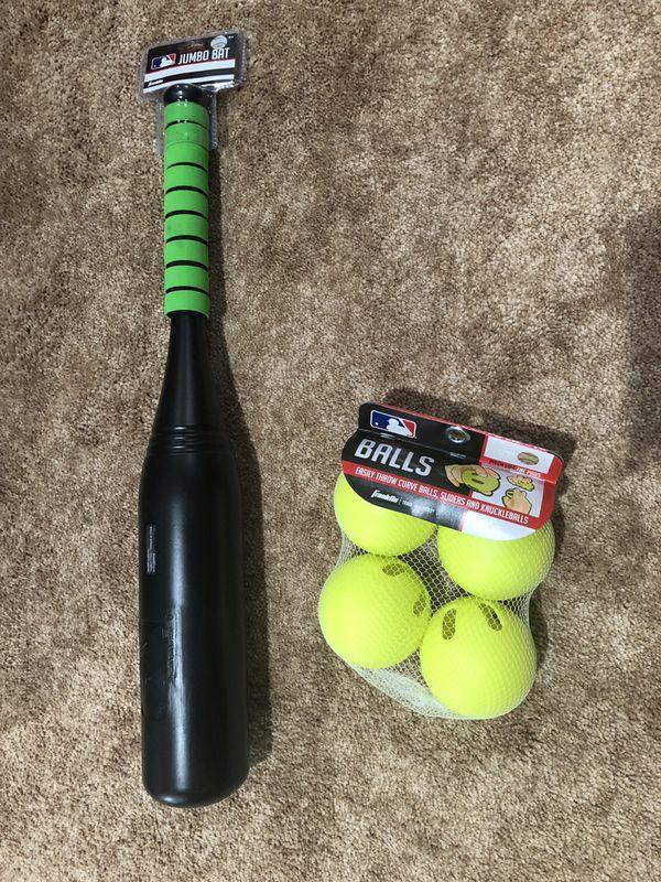 Baseball Bat & Wiffle Balls - brand new