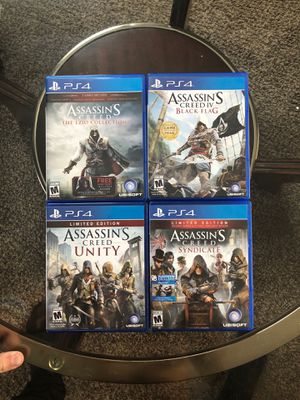 Assassin's Creed The Ezio Collection, Assassin's Creed 4 Black Flag, Assassins Creed Unity, and Assassin's Creed Syndicate. All for the PlayStation 4 for Sale in Butte, MT