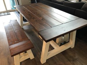 Farmhouse style kitchen table with matching benches for Sale in Sumner, WA