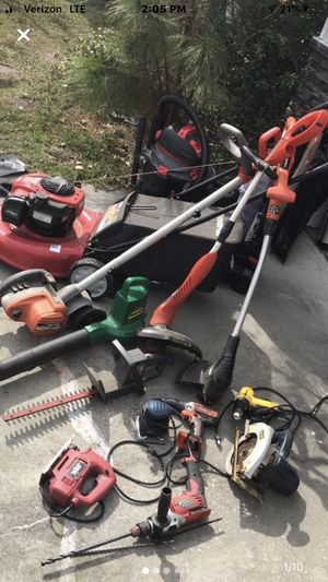 Lawnmower, saws, drills, hedge cutter, blower, weedeater, vacuum and shop vacuum, drill, sander for Sale in Pooler, GA