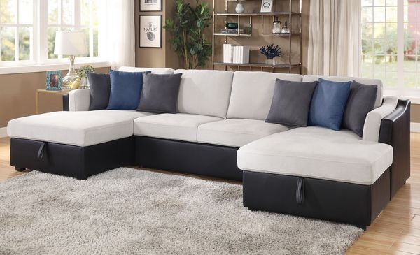 BEIGE FABRIC BLACK BONDED LEATHER U SHAPE SECTIONAL SOFA COUCH ADJUSTABLE BED STORAGE CHAISE - SILLON SECCIONAL CAMA