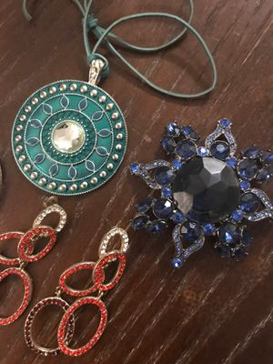 Earrings and pendant and brooch for Sale in Hollywood, FL