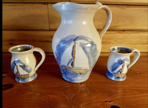 Beautiful Handmade Sailboat Pitcher & Cups for Sale in Manassas, VA