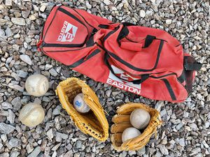 Softball Equipment - 2 Rawlings Gloves, 5 Softballs, Easton Equipment Bag for Sale!!! for Sale in Chandler, AZ