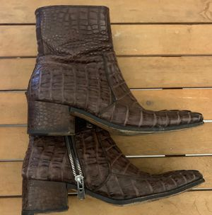 Yves st Laurent crocodile boots brown 42 for Sale in Oakland Park, FL