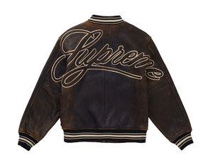 Supreme worn leather varsity jacket black size M for Sale in Alhambra, CA