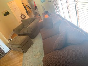 Pennsylvania house Couch, chair and a half, Ottoman on wheels… for Sale in Des Plaines, IL