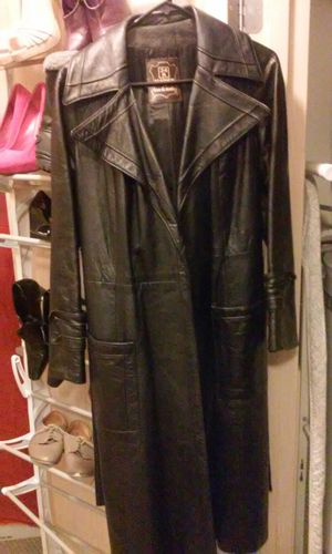 Real leather trench double breasted for Sale in Seattle, WA