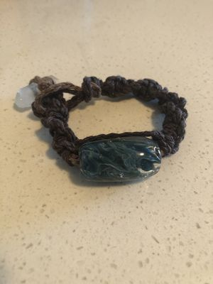 Hand Blown Glass pendant hemp bracelet with a rough crystal closure for Sale in Tualatin, OR