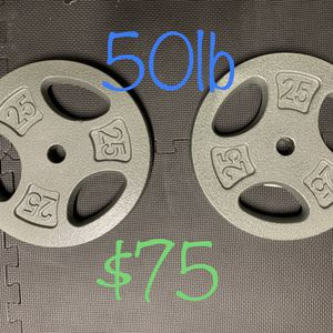 """2 25lb Standard Weight Plates 1"""" Hole $75 for Sale in Corona, CA"""