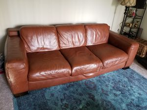 Coffee Italian Leather Couch for Sale in UNIVERSITY PA, MD